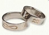 Custom reverse etched Astrology Wedding Rings in 14KW