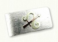 Sterling silver Money Clip with Custom Astrological Symbol in 14kt Green and 14kt Rose Gold